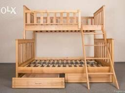 2-ярусне ліжко з натурального дерева - недорого
