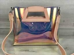2в1 Молодежная Перламутровая силиконовая сумка Вита с пудрой