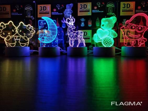 3D Лампы / Нічник 3D / Ночник 3Д / Светильник 3Д/ Вставки но