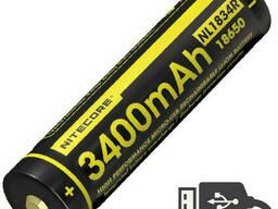 Аккумулятор литиевый Li-Ion 18650 Nitecore NL1834R 3400mAh USB защищенный