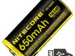 Аккумулятор литиевый Li-Ion RCR123A Nitecore NL1665R 650mAh USB