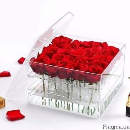 Акриловые коробки для цветов - На 9, 15 и 25 роз