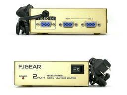 Активный сплиттер VGA сигнала KV-FJ1502A 150MHz 2 Port, DC5V/2A, Gold