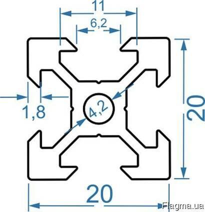 Алюмінієвий верстатний профіль 20x20 V-підібний(анод)