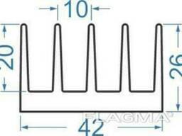 Алюминиевый радиаторный профиль 42x26 мм без покр, в. ..