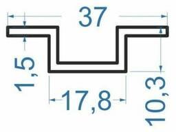 Алюминиевый швеллер отбортованный 37x10, 3x1, 5N0266 б. п.