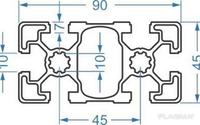 Алюминиевый станочный профиль 45x90 мм АД31 Т5