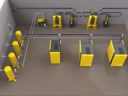Монтаж аллюминиевых трубопроводов для подвода вакуума.