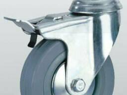 Аппаратное колесо поворотное с отверстием, тормозом и. ..