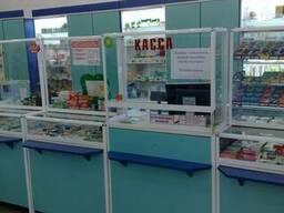Аптечное торговое оборудование. Прилавки и шкафы для аптек.