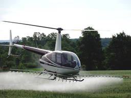 Авиахимобработка пшеницы вертолетом
