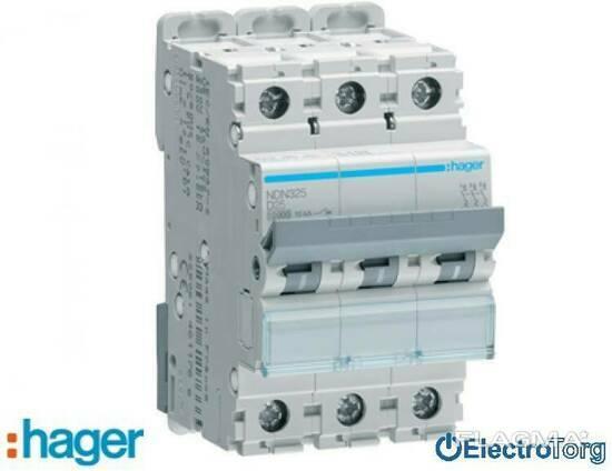 Автоматический выключатель 3p 10kA D-25A 3M Hager (Хагер)