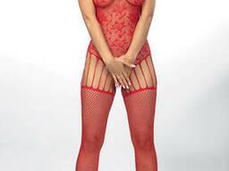 Ажурний бодістокінг з пікантним вирізом ANS Leisha, Червоний, L/XL, День закоханих