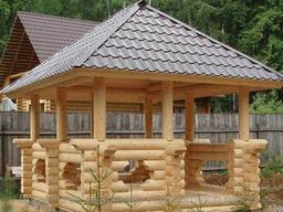 Беседка деревянная из оцилиндрованного бруса