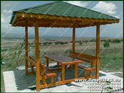 Беседка со столом и лавочками Арт №ЕС020