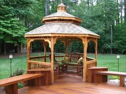 Беседки садовые из дерева. Строительство под ключ.