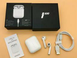 Беспроводные сенсорные Bluetooth наушники с поддержкой Беспроводной зарядки i100 TWS Белые