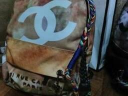 Бежевый рюкзак chanel graffiti шанель граффити