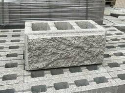Заборный блок серый 390х190х190