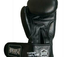 Боксерські рукавиці PowerPlay 3088 Чорні натуральна шкіра 12 унцій SKL24-252445