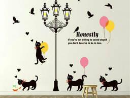 Большая наклейка на стену виниловая Фонарь и котики (72645)