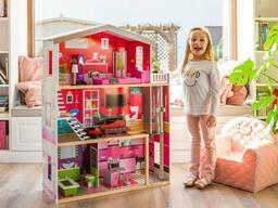 Большой игровой Кукольный домик для Барби EcoToys 4118 Malibu деревянный 3 этажа +. ..