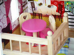 Большой игровой Кукольный домик EcoToys 4109 Roseberry деревянный 3 этажа + 5 комнат +. ..