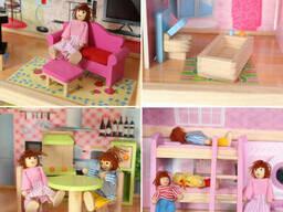 Большой игровой Кукольный домик EcoToys 4110 Fairy деревянный 3 этажа + 4 куклы +. ..