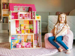 Большой игровой Кукольный домик EcoToys 4120 Roseberry деревянный 3 этажа + 5 комнат +. ..
