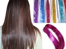 Большой набор разноцветных блестящих прядей украшений для волос - 6 цветов № 1