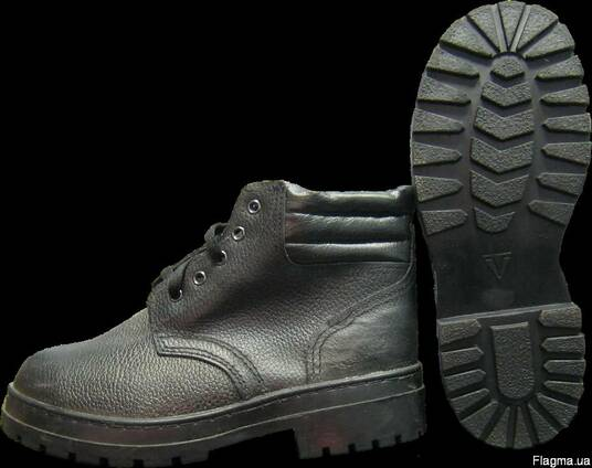 Ботинки рабочие комбинированные с мягким кантом:союзки-юфть,