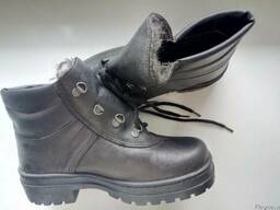 Ботинки рабочие кожаные утепленные иск. мехом клеепрошивные