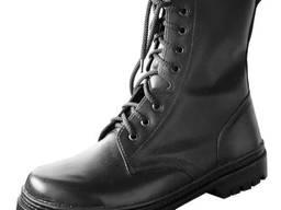 Ботинки с высокими берцами кожаные хромовые на меху
