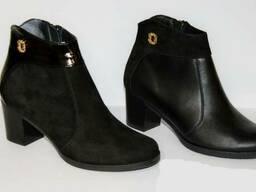 Ботинки весенние кожаные на каблуке