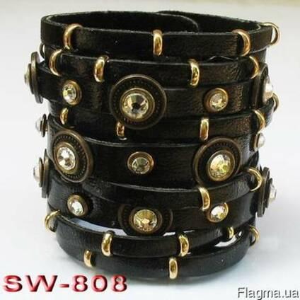 Браслет из натуральной кожи с элементами Swarovski SW808 bro