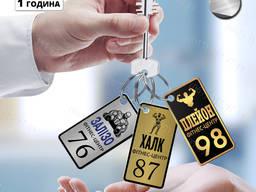 Металлические бирки с логотипом на ключи для фитнес центра