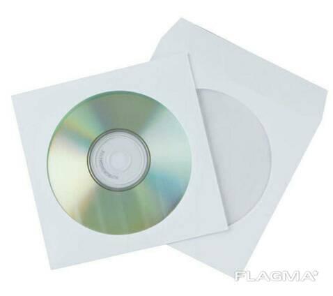Бумажный конверт для CD, DVD дисков с окном, белый, 75 гр/кв. м, 124 х 127 мм, от 1 шт