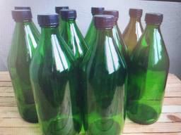 Бутылка из темного стекла 1 л (с пробкой и крышкой) , продажа от 20 шт.