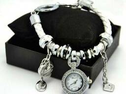 Часы браслет Pandora, женский кожаный браслет с часами Пандо