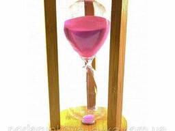 Часы песочные бамбуковые 60 мин розовый песок (19х11х11 см) ( 32884C)