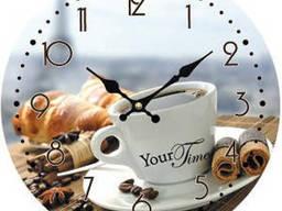"""Часы стеклянные """"Кофе"""""""