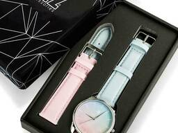 Часы Ziz Розовый кварц и Безмятежность, ремешок голубо-розовый, серебро и. ..