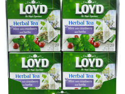 Чай в пакетиках пирамидках Loyd, мята, клюква и травы. ..