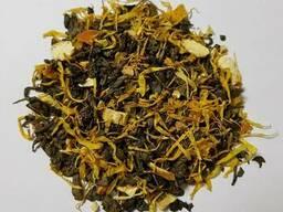 Чай зеленый с цедрой лимона и апельсина и лепестками