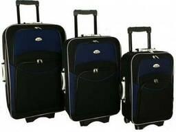 Чемодан сумка 773 набор 3 штуки черно-т.синий