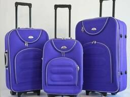 Чемодан сумка Bonro Lux набор 3 штуки фиолетовый