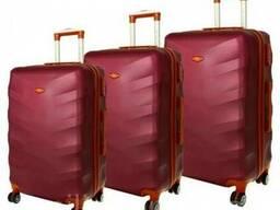Дорожный чемодан сумка Exclusive набор 3 штуки вишневый