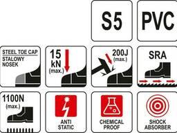 Чоботи ПВХ водонепроникні, хімічностійкі, антистатичні з металевим носком YATO, 38 см. ..