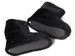 Чуни мужские из шерсти мериносовой овчины черные велюр плюш однотонные