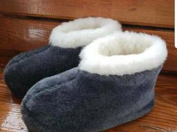 Чуни тапочки мужские низкие из шерсти мериносовой овчины велюр плюш серые однотонные с. ..